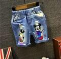 2016 Kids Children Summer Jeans Shorts with Hole Boys Denim Shorts Mickey Boy Girl Cartoon Jeans Shorts for Boys boys 2-7years