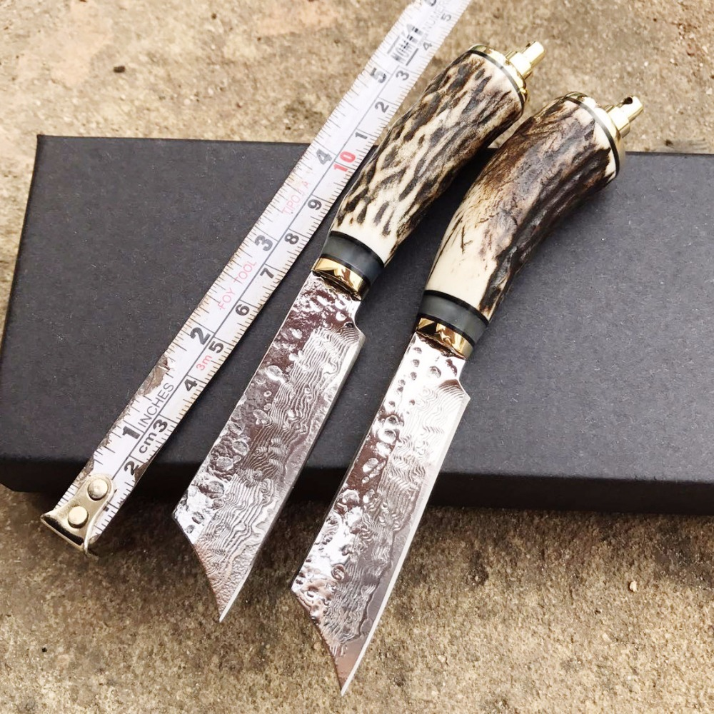PSRK Sharp Fixed mini Hunting Knife Handmade forged Damascus Steel camping knife Antlers leather handle survival Tactical tool kkwolf damascus steel antler handle fixed blade knife survival camping tactical hunting knife pocket multi tools lowest price