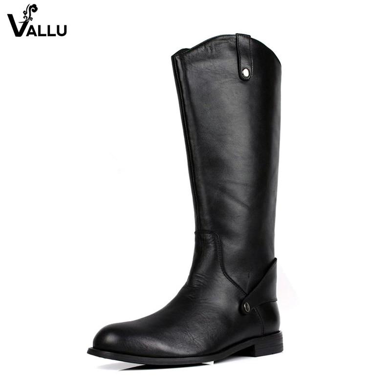 Back Zipper Men' s High Boots Button Strap Low Heel Shoes Genuine Leather 2018 Autumn Commercial Casual Male Boots Martin Shoes men button