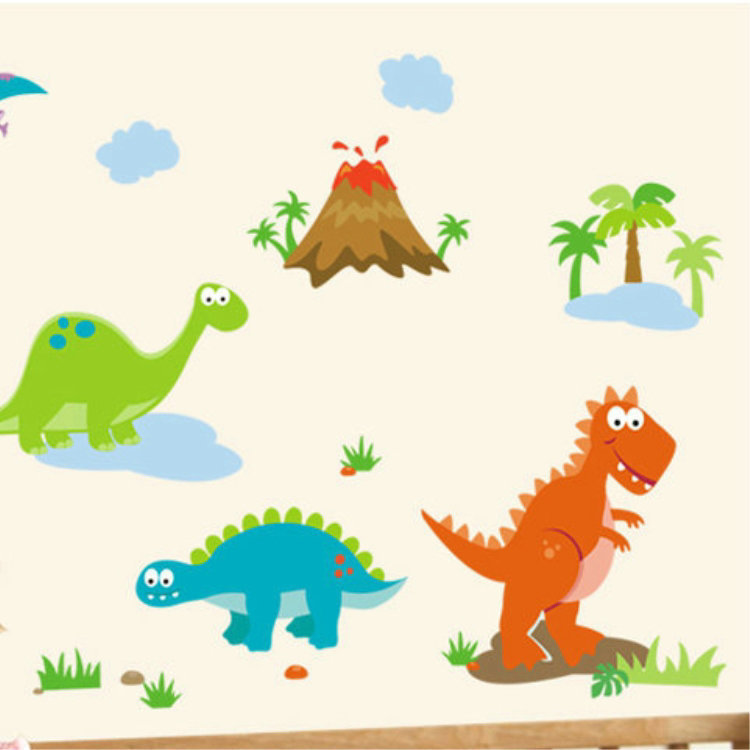 Lovely Cartoon Dinosaur world Wall sticker for kids Bedroom Home decor DIY  Baby Wallpaper wall decorative stickers Free Shipping-in Wall Stickers from  Home ...