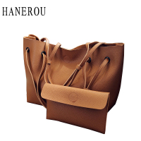 Fashion Solid Shoulder Bags Handbags 2 Set Women Handbags Big Capacity Composite Bag High Quality PU