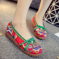 Lace Flower Embroidered Red Women Walking Shoes Flat Heel Elastic Band Soft Soles Comfortable Old Peking Style Single Shoes