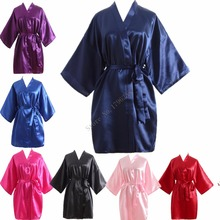Hot Women robe Silk Satin Robes Wedding Bridesmaid Bride Gown kimono Solid robe One size fit S-XXL cheap Rayon Polyester Faux Silk MeiYeSiDa Half Knee-Length One Size fits S-XXL Spring Floral Faux Silk Rayon