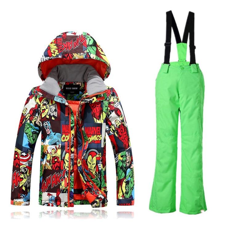 -35 degrés enfants Ski costume GSOU neige marque coupe-vent imperméable veste de Ski pantalon garçons filles Super chaud Snowboard costume épaissir nouveau - 4