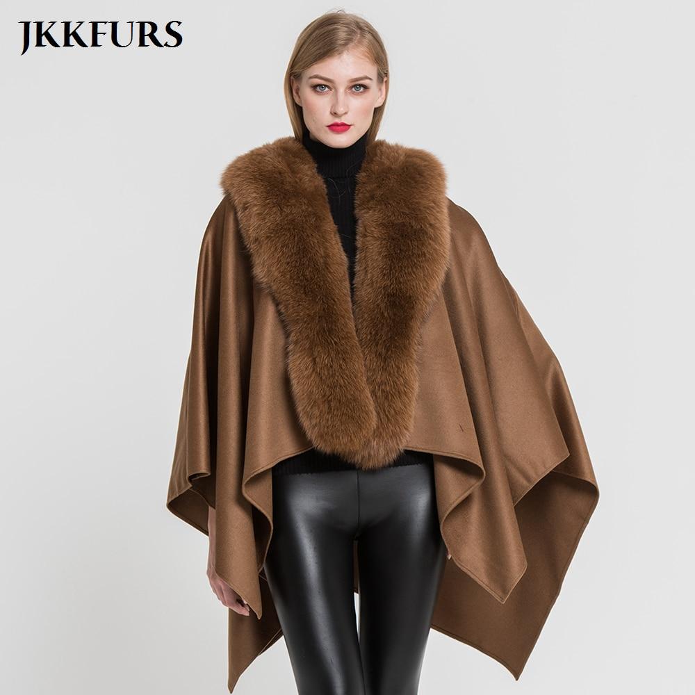 JKKFURS 2019 New Women s Poncho Genuine Fox Fur Collar Trim Wool Cape Fashion Style Top