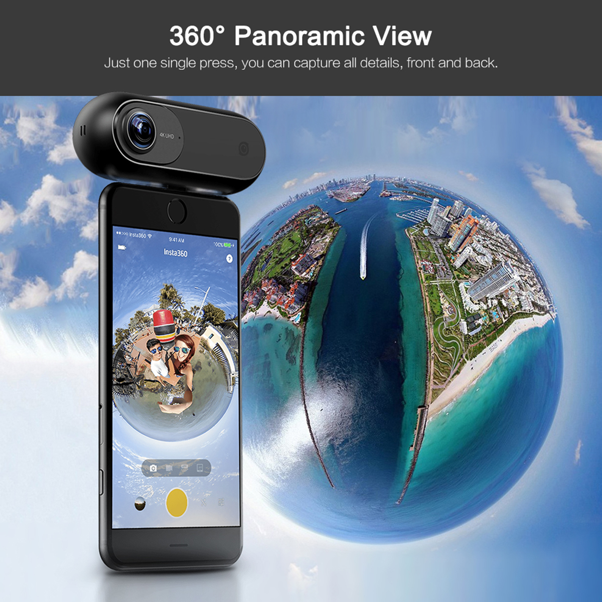 2018 Insta360 ONE 4K 360 Panoramic Camera VR Video Sport Action Camera 24MP Bullet Time 6-Axis Gyroscope Webcast for iPhone Cam insta360 air 3k hd 360 camera dual lens panoramic camera compact mini vr camera for samsung oppo huawei lg andriod smartphone