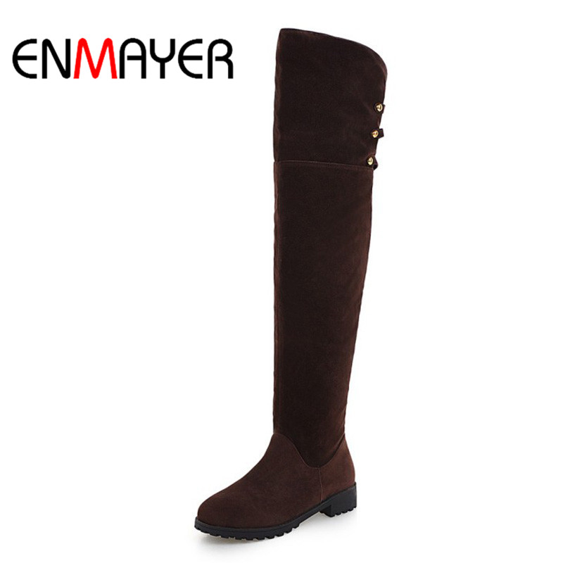 ENMAYER Ladies Nubuck Winter Boots Woman Over the Knee Boots Woman Snow Boots Black Brown Platform Shoes Flats Boots Woman armoire hot sales black yellow red brown gray flats women slouch ankle boots solid ladies winter nude shoes aa 3 nubuck