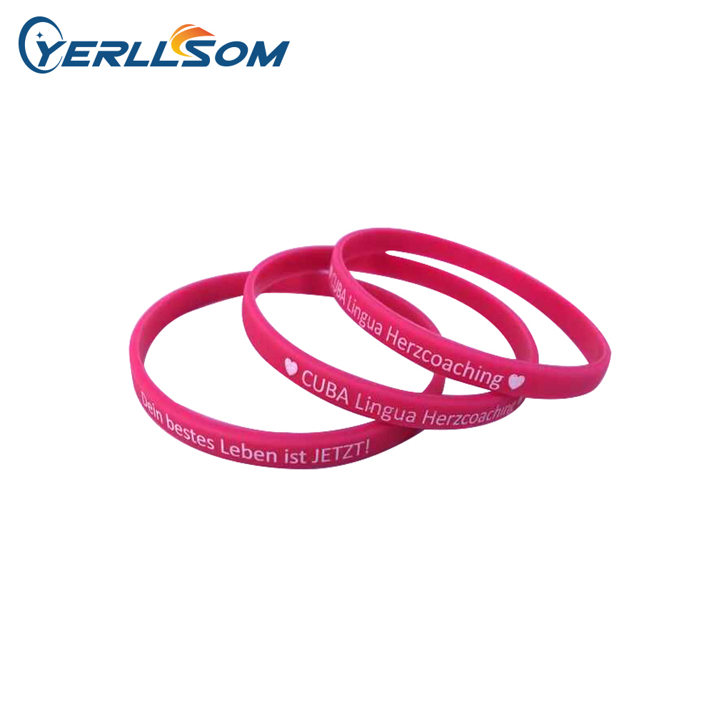 YERLLSOM 100PCS Trade Assurance Customized print writing 6mm silicone bracelets for events YS19070201
