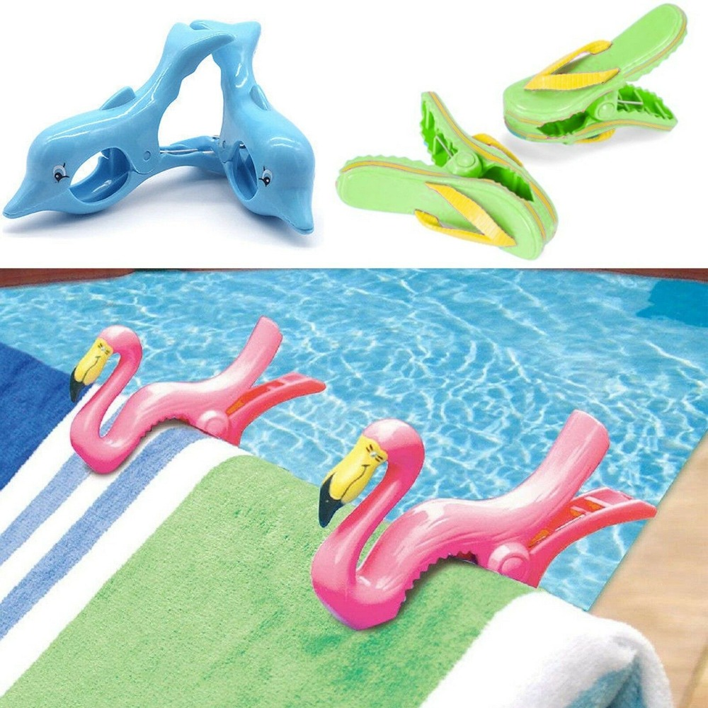 Personalised Beach Towel Pegs: Set Of 2 Plastic Sun Lounger Beach Towel Wind Clips Sunbed