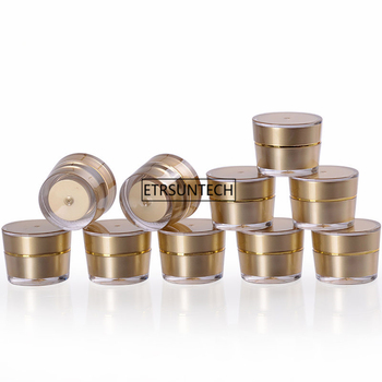 100pcs 5g Gold Empty Refillable Cream Acrylic Jar Plastic Cosmetic Packaging Bottle for Makeup Product F3204