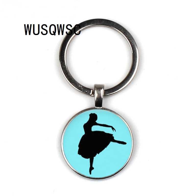 WUSQWSC Bailarina silhueta arte do vintage homens mulheres chaveiro moda Degas Dançarina dança bag pingente chaveiro anel titular