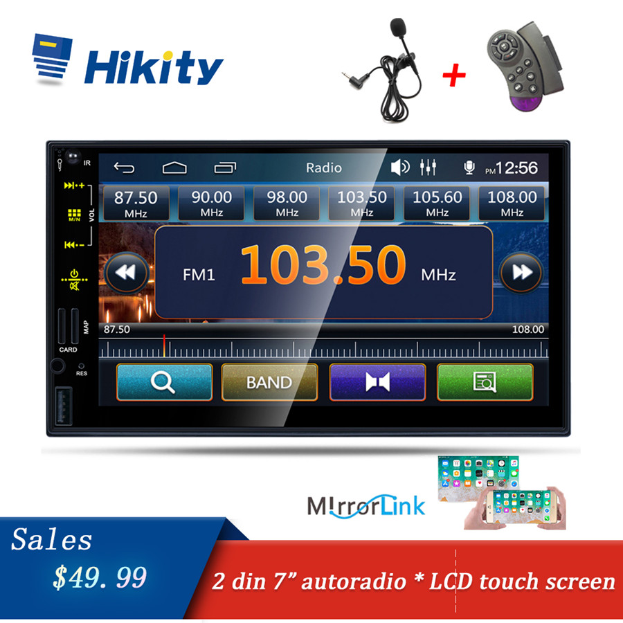 Hikity Autoradio 2 din Car Radio Multimedia Video Player MIC USB FM Touch Screen Stereo Support Wheel Control Subwoofer Camera