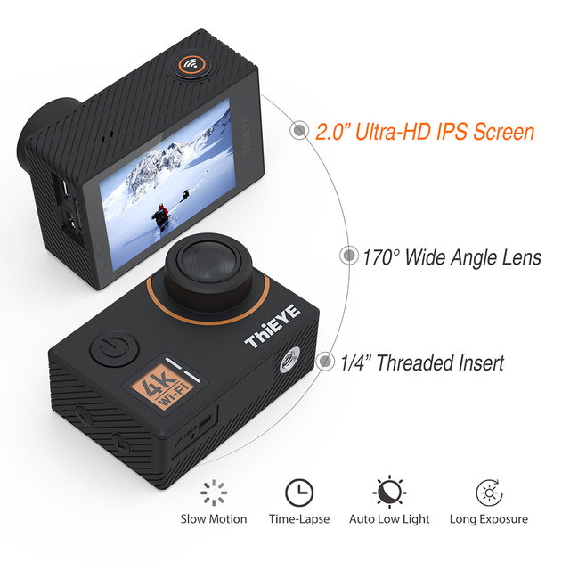 Black Action Camera with Bluetooth