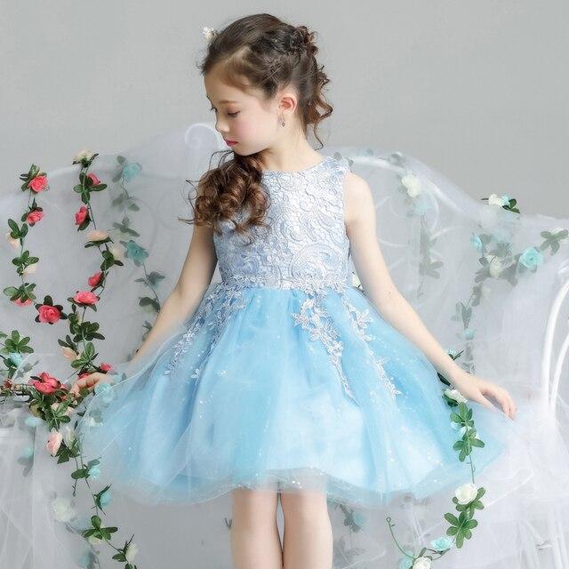Bowknot Short Flower Girl Dresses Wedding Appliques Ball Gown Kids ...