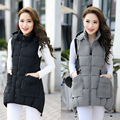 Winter Hooded Vest Women 2016 New Fashion Waistcoat Plus Size Pockets Zipper Slim Long Style Solid Colors Vests A4365
