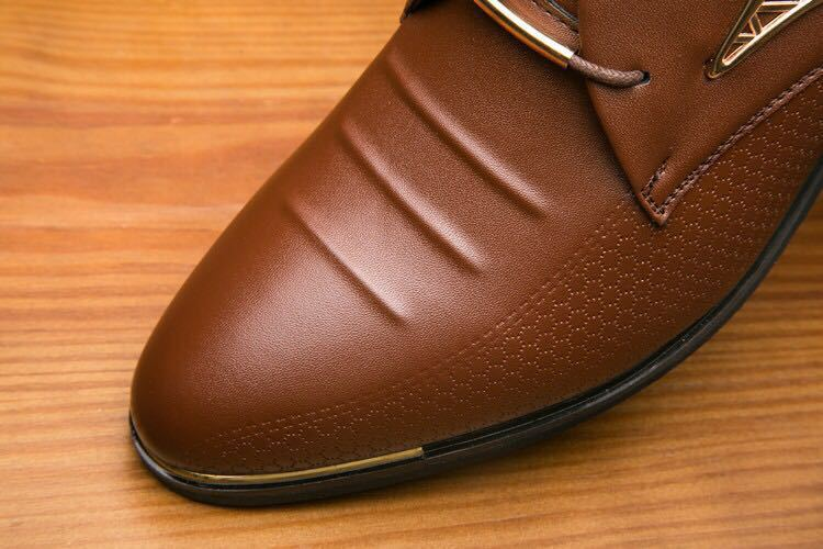 Big Size 38-48 Spring Autumn Man Dress Shoes Leather Pointed Toe Italy Breathable Business Wedding Oxford Formal Shoes for Meal (7)