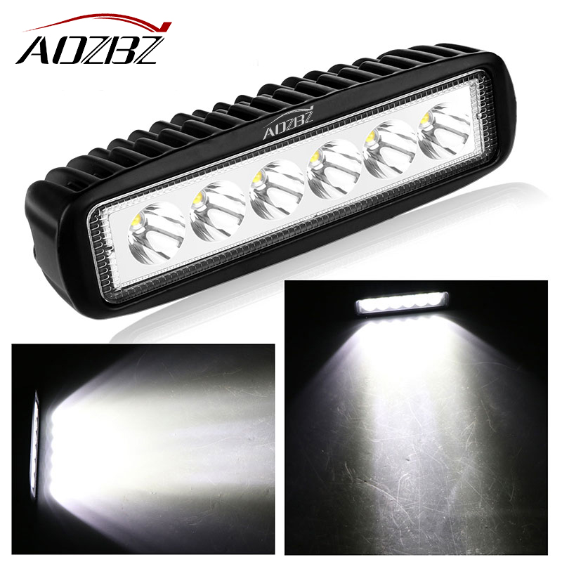 AOZBZ 18W Floodlight Light Work LED Bar Driving Fog Lamp Offroad SUV 4WD Car Boat LED Work Light for Toyota Motorcycle Tractor 7inch 18w with cree chip led car work light bar 4wd spot fog atv suv driving lamp led bar for offroad tractor driving lamp