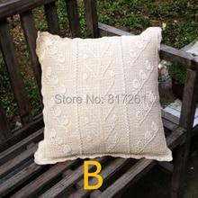 2013 ZAKKA дизайн размером 45*45 см бежевый натуральный хлопок вязаная наволочка кружева Наволочка с цветами подушки, Наволочка на подушку-валик