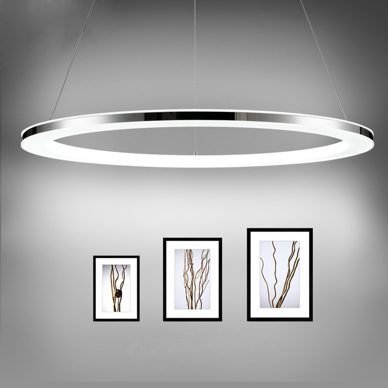 Ecolight Free shipping Modern Led pendant Light Diameter 30cm Ring Acrylic Stainless Steel Pendant Lamp for Living Dinning Room modern brief crystal pendant light lamps diameter 48 cm free shipping