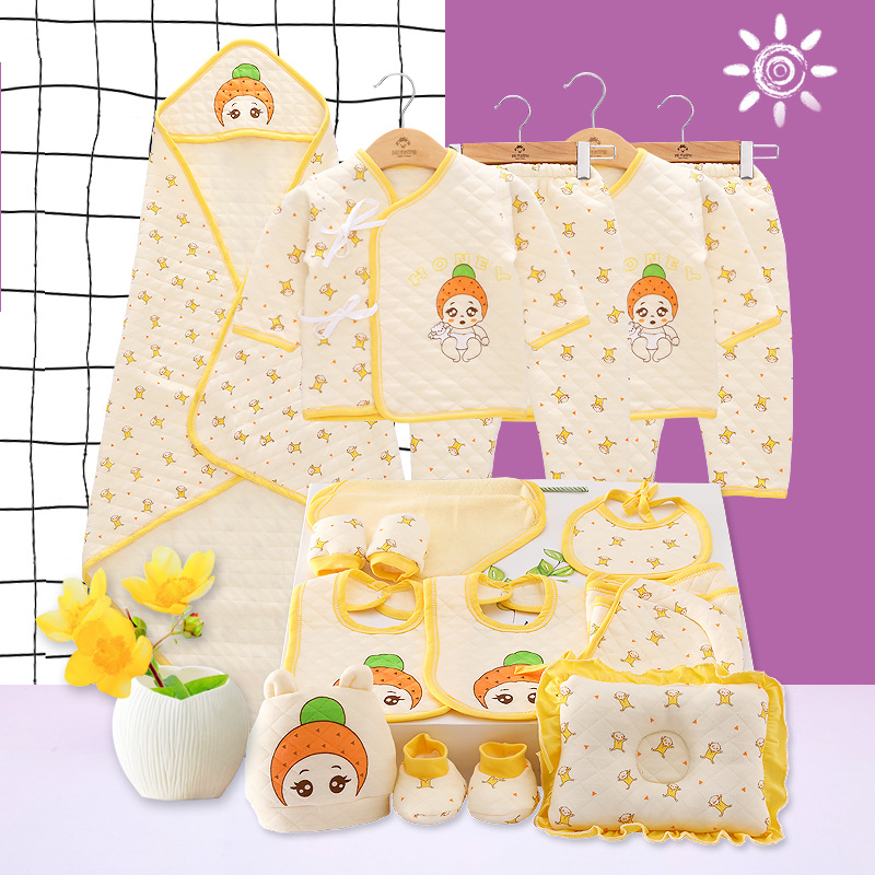 (18Pcs/Set) High Quality 100% Cotton Thick Newborn Baby Clothing Gift Sets Infant Cute Suit Baby Girls Boys Clothes Xmas Gift emotion moms 29pcs set newborn baby girls clothes cotton 0 6months infants baby girl boys clothing set baby gift set without box