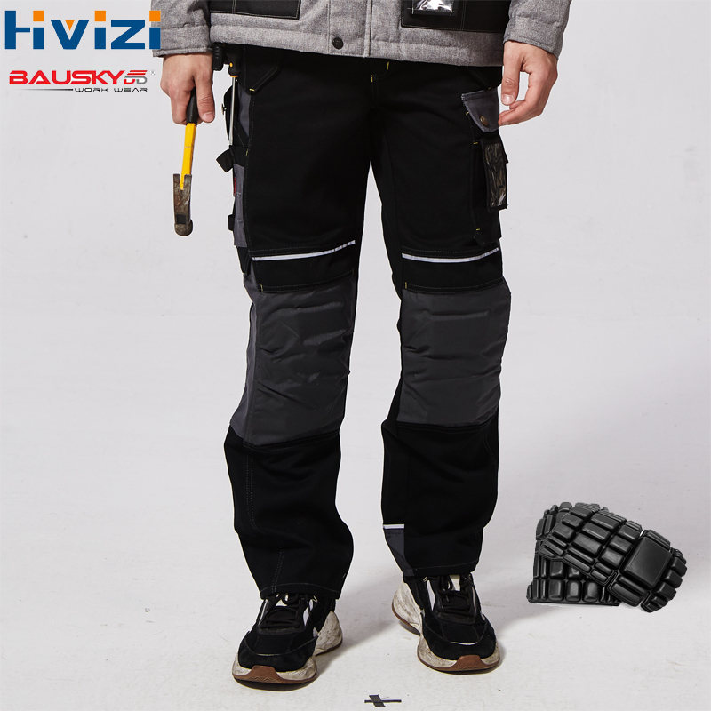 Calças de trabalho masculino multi bolsos ferramenta calças com removíveis joelheiras segurança trabalhador mecânico carga workwear b125
