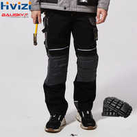 Men Work Pants Multi pockets Tool Trousers With Removable Knee pads Safety Worker Mechanic Cargo Pants workwear B125