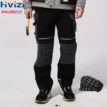 Men Work Pants Multi pockets Tool Trousers With Removable Knee pads Safety Worker Mechanic Cargo Pants workwear B125 цена и фото