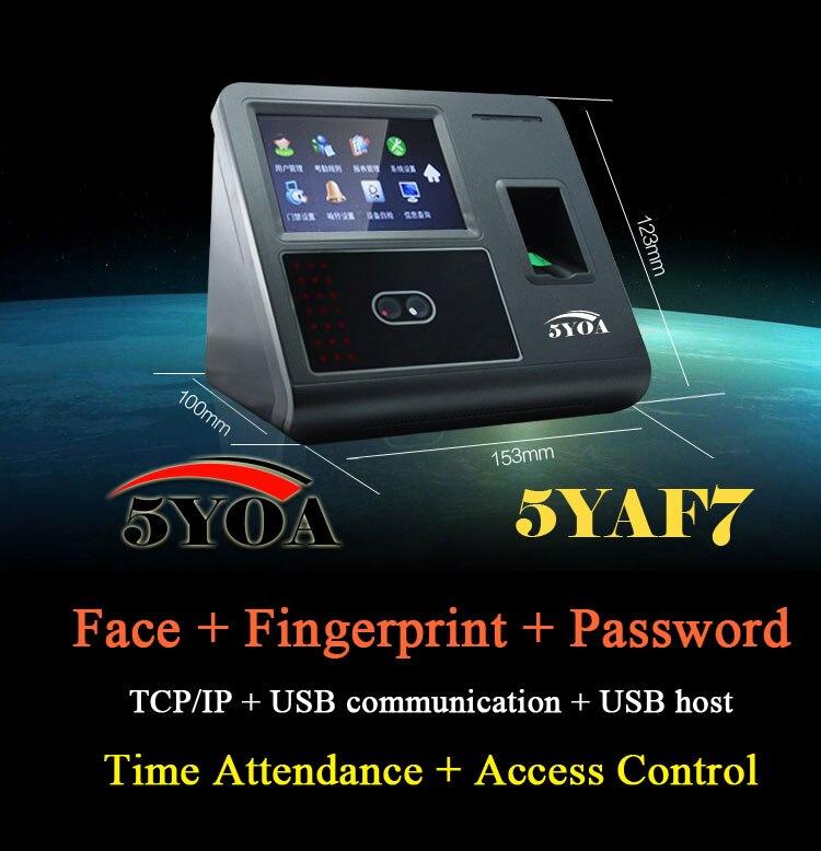 Viso di Riconoscimento Facciale Dispositivo di Controllo di Accesso di Presenza di Impronte Digitali TCP IP Biometrico Time Clock Recorder Dei Dipendenti Digitale AF7