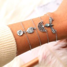 New Fashion Charm Personality Bohemian Leaves Eagle Coconut Tree Semi-circle Bracelet Set Female Silver Jewelry Gifts For Women