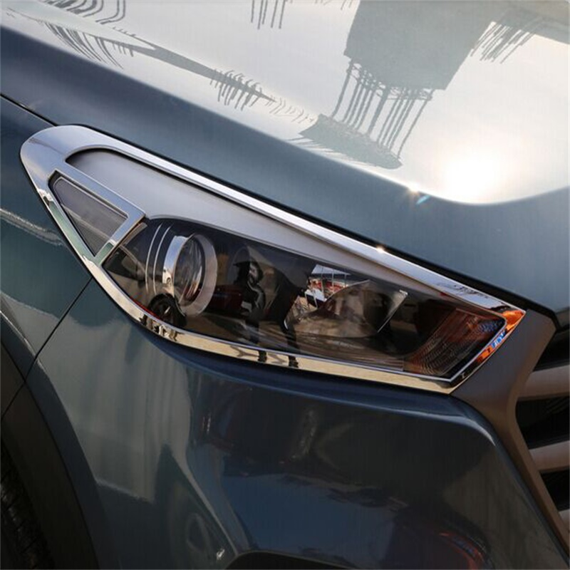 For Hyundai Tucson TL 2015 2016 ABS Chrome Car Front Headlight Lamp Protector Head light Cover Trim lamp shade Lamp Decoration geely sc7 sl car front headlight head light transparent cover