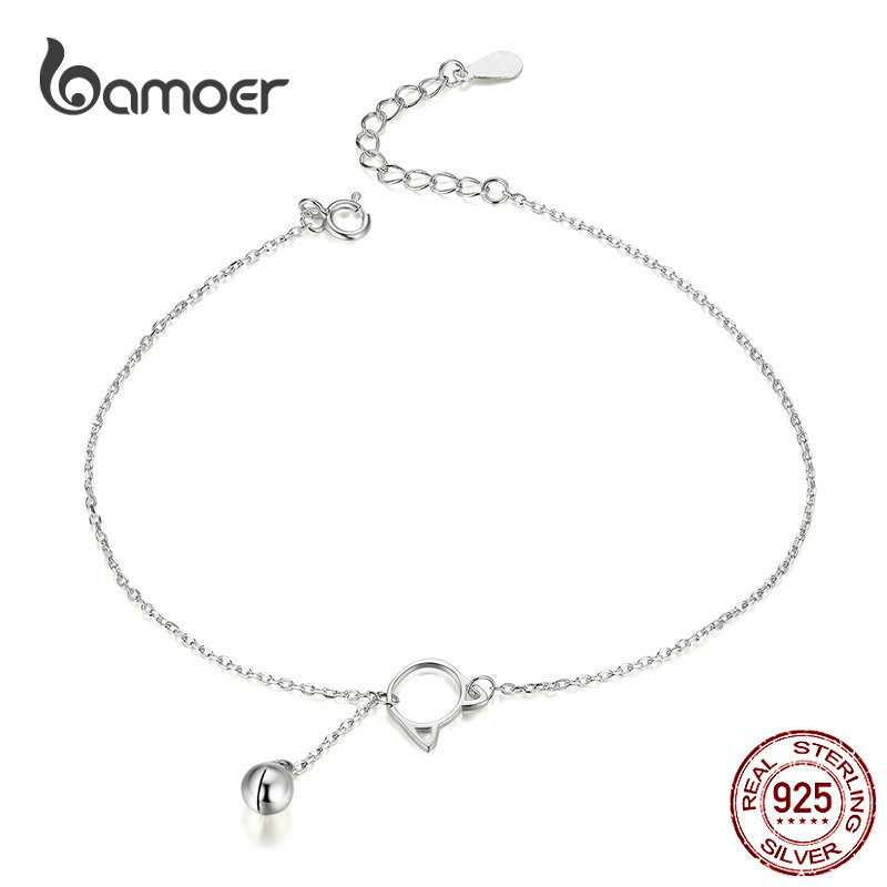 bamoer Foot Jewelry Anklet Simple Bell And Cat Bracelet for Ankle Real Solid 925 Sterling Silver Anklets For Women SCT003
