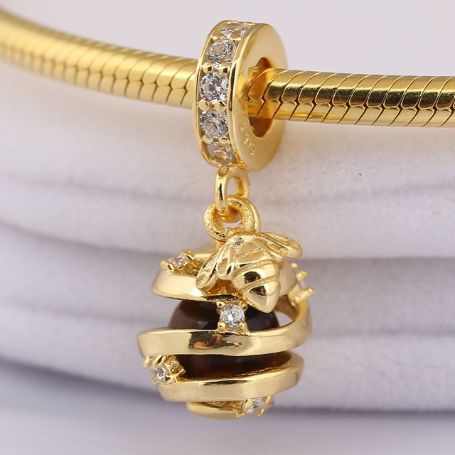 2990bc1a9 ... shopping real 925 sterling silver sweet as honey charm shine tiger eye  clear cz fit pandora ...