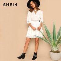 SHEIN Bohemian White Wrap Front V Neck Eyelet Embroidered High Waist Short Dress Women Summer Fit and Flare Solid A Line Dresses