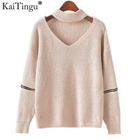 KaiTingu Brand Women Sweaters And Pullovers V Neck Hollow Out For Autumn Winter Long Sleeve Solid