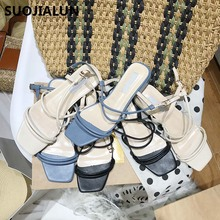 Women Sandals Summer Brand Vintage Gladiator Casual Narrow Band Square Open Toe Ladies Slides Shoes