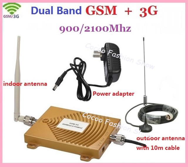 Nueva GSM/3G WCDMA 900/2100 MHZ Full-duplex Puerto Único LED Luz ALC Teléfono Móvil Amplificador de la señal Del Repetidor de Señal Celular Booster