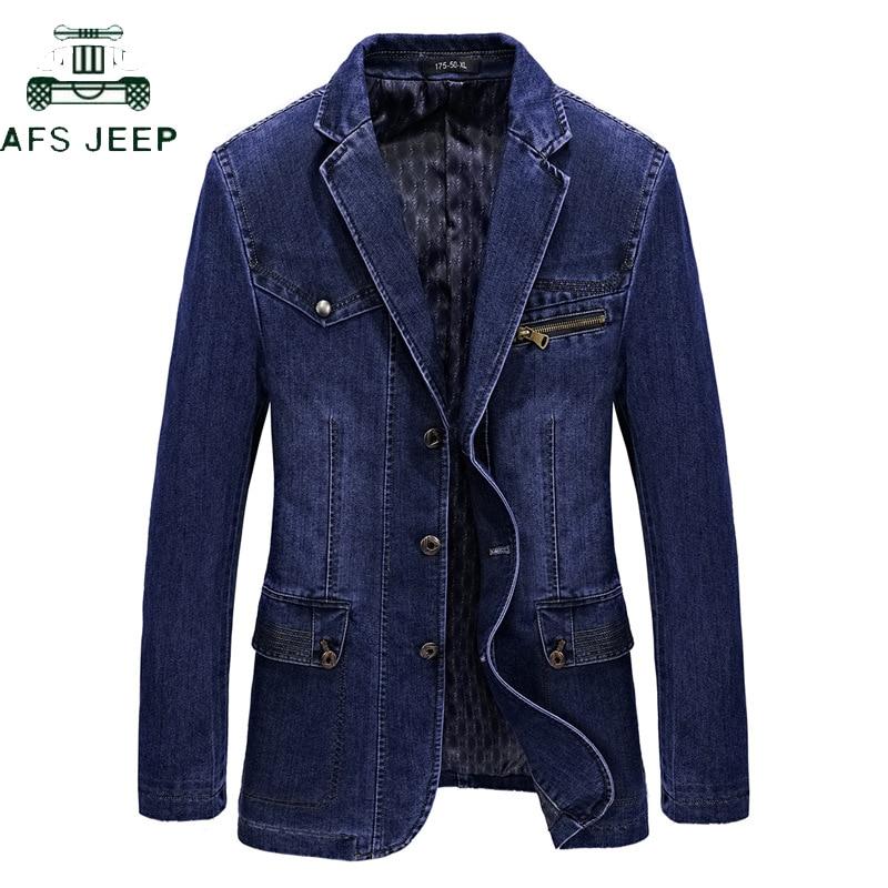 AFS JEEP Fashion Jeans Blazers Men Business Casual Slim Fit Suits Jacket Hombre Cotton Denim Blazer Masculino Plus Size L-3XL