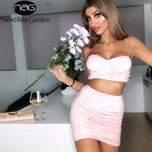 NewAsia 2 Layers Ruched Sexy Dress Women 2019 New Summer Straps Pleated Pink Party Elegant Ladies Bodycon Two Piece