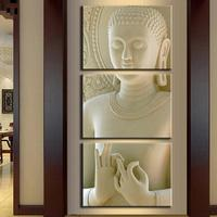 Modern Buddha Painting 3 Picture Home Decoration White Marble Buddha Statues Art Canvas Wall Artwork for Home Decor Unframed