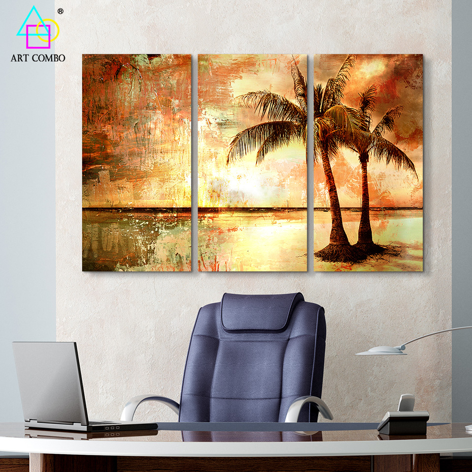 3 Panels Beautiful Landscape Painting Different Area Scenery ...