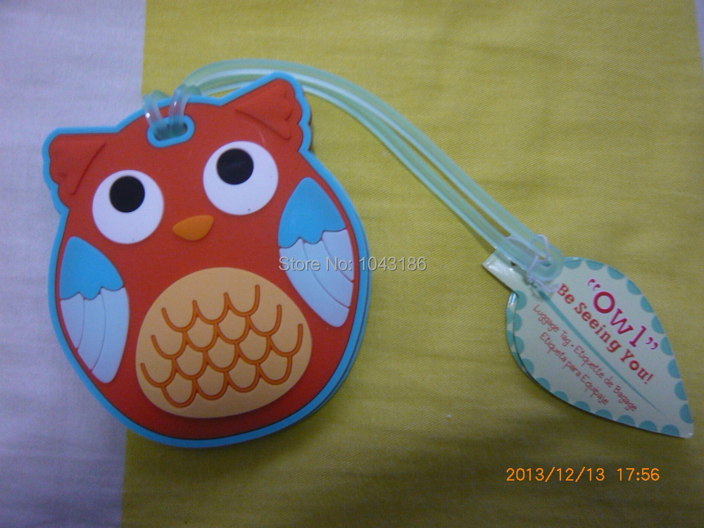 Free shipping wedding favor baby shower party gift-Owl luggage tag favors party favor guest gift 100pcs/lot