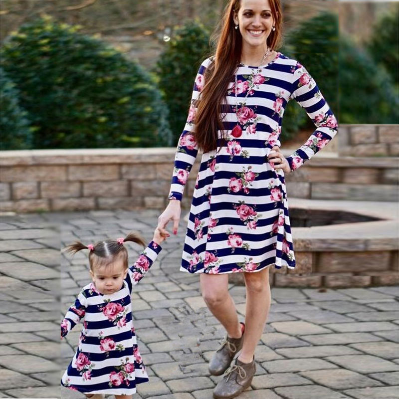 New Family look Mother kids Mom and daughter dress striped mother daughter dresses long sleeve Girl big sister matching clothes