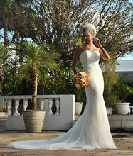 Free Shipping Elegant Fishtail Strapless Sweep Train Wedding Dresses For Black Women With Appliques WX11642