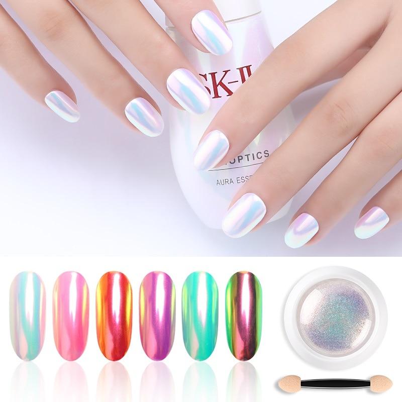 Chrome Pearl Shell Powder Nail Art Glitter Pigment Unicorn Powder Long Lasting Manicure Nail Tip Decoration Gel Polish Dust-in Nail Glitter from Beauty & Health