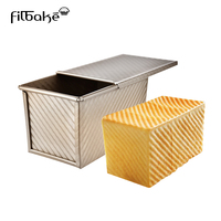 FILBAKE Baking Tools For Cakes Mold Gold Corrugated Aluminum Alloy Rectangular Toast Box With Cover Of