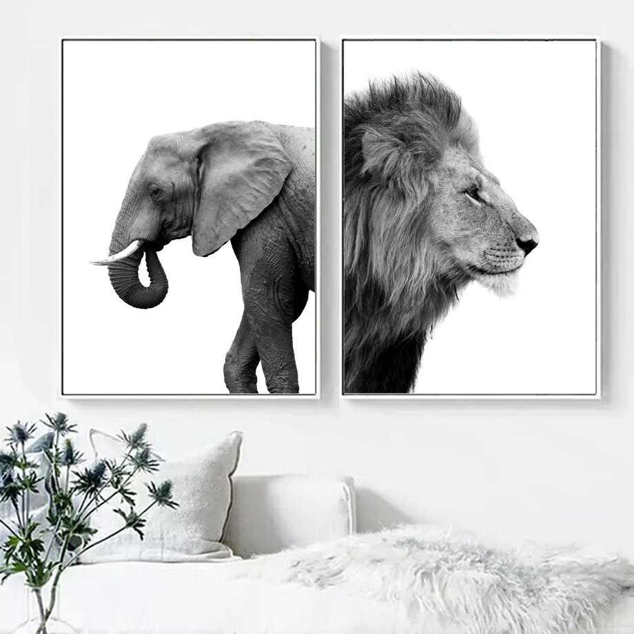 ช้างสิงโต Desert Tree Wall Art ภาพวาดผ้าใบสัตว์นอร์ดิกโปสเตอร์และพิมพ์สีดำสีขาวผ้าใบสำหรับห้องนั่งเล่น