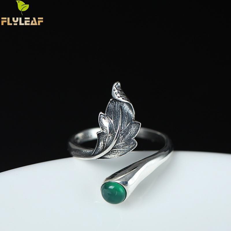 Купить женские открытые кольца с натуральным нефритовым пером и листьями