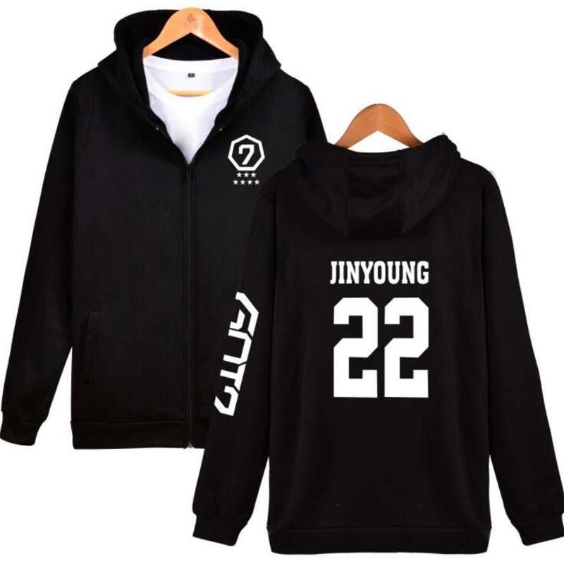 KPOP GOT7 Winter Womens Jackets and Coats YOUNGJAE BAMBAM YUGYEOM JACKSON GOT 7 Album Hip Hop Fleece Zipper Hooded Sweatshirt