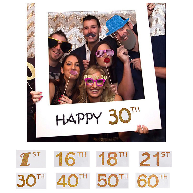 Happy 1st 16th 18th 21th 30th 40th <font><b>50th</b></font> Photo Booth Props <font><b>Birthday</b></font> Banner Bunting Anniversary <font><b>Birthday</b></font> Photo Frame Party <font><b>Decor</b></font> image