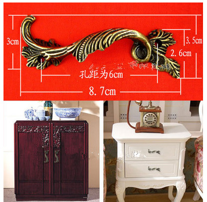 Hardware accessories B100 Zinc alloy Phoenix auspicious classical European antique  furniture door hidden closet drawer handle - Hardware Accessories B100 Zinc Alloy Phoenix Auspicious Classical